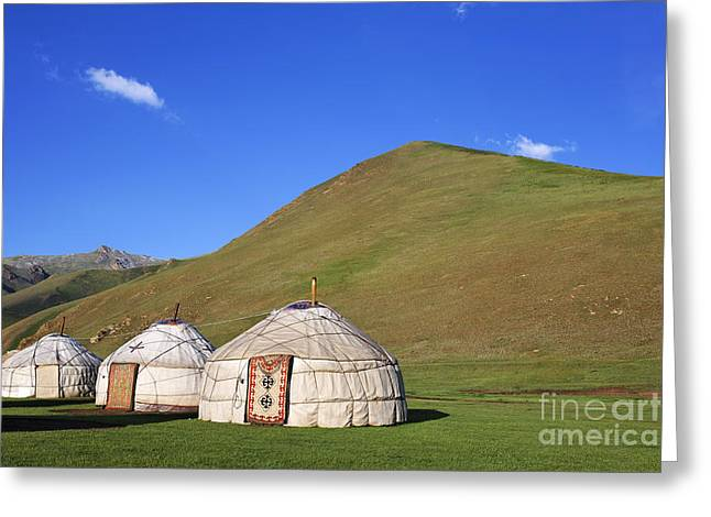 Yurts in the Tash Rabat Valley of Kyrgyzstan  Greeting Card by Robert Preston