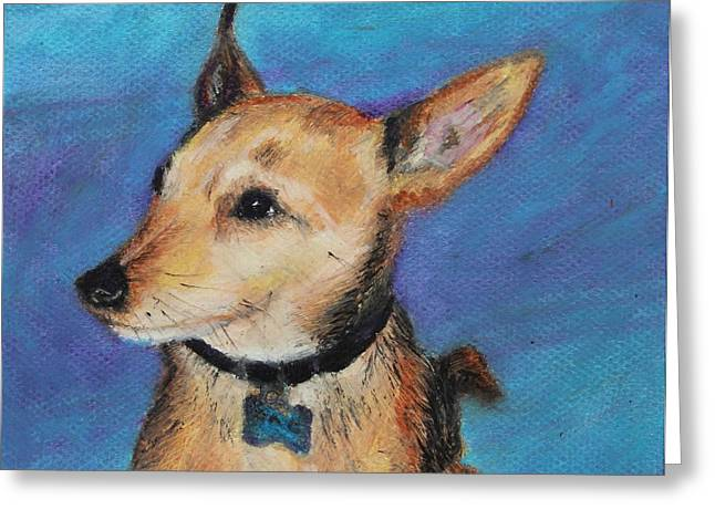 Sitting Pastels Greeting Cards - Zack Greeting Card by Jeanne Fischer