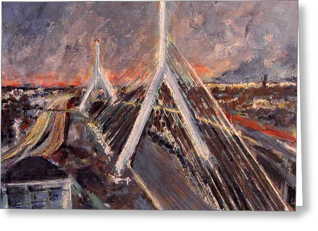 Dream Scape Paintings Greeting Cards - Zakim Twilight Greeting Card by Romina Diaz-Brarda
