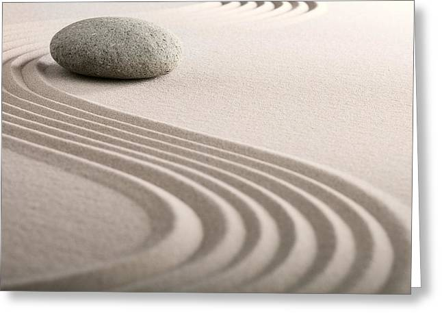 Recently Sold -  - Sand Patterns Greeting Cards - Zen Sand Stone Garden Greeting Card by Dirk Ercken