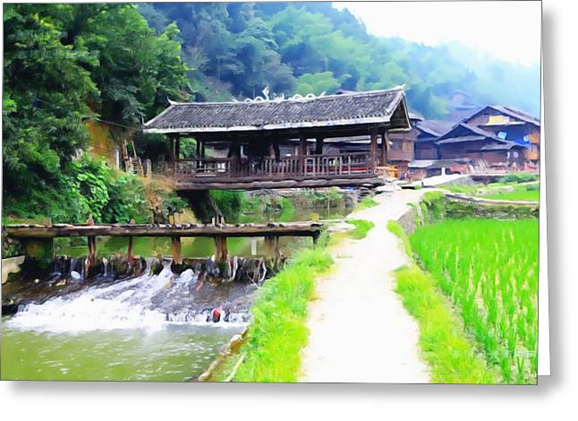 Chinese Minority Greeting Cards - Zhaoxing Dong village 4 Greeting Card by Lanjee Chee