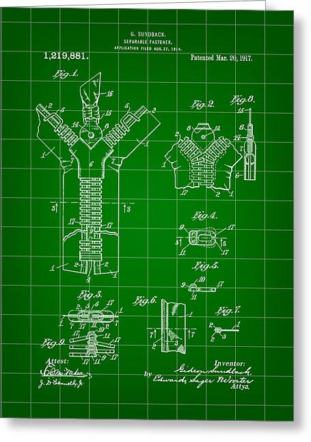 Zipper Greeting Cards - Zipper Patent 1914 - Green Greeting Card by Stephen Younts