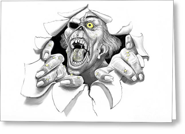 Most Drawings Greeting Cards - Zombie Target Greeting Card by Murphy Elliott