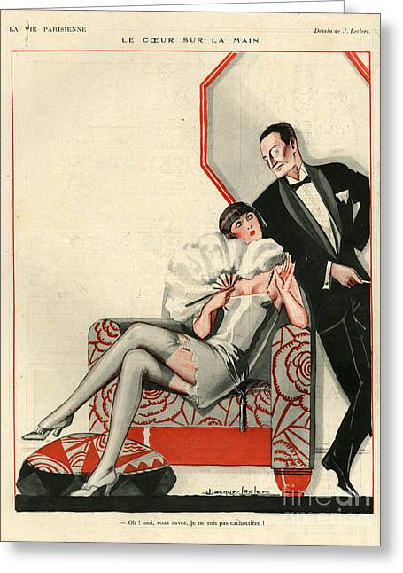 Eveningwear Greeting Cards - 1920s France La Vie Parisienne Greeting Card by The Advertising Archives