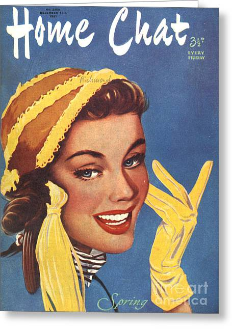 1951 Drawings Greeting Cards - 1950s Uk Home Chat Magazine Cover Greeting Card by The Advertising Archives