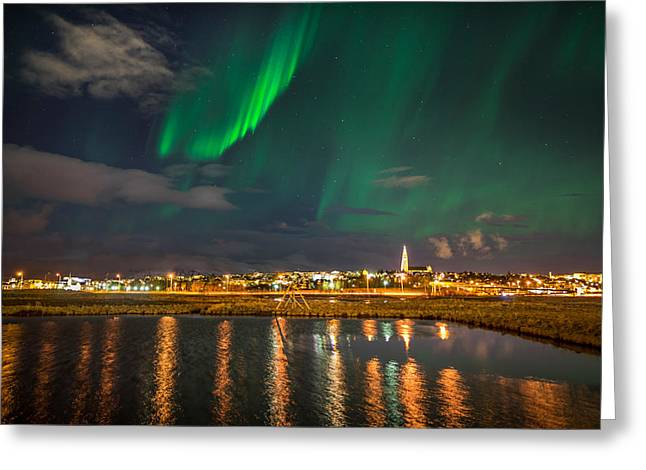 Colorful Photography Greeting Cards - Aurora Borealis Or Northern Lights Greeting Card by Panoramic Images