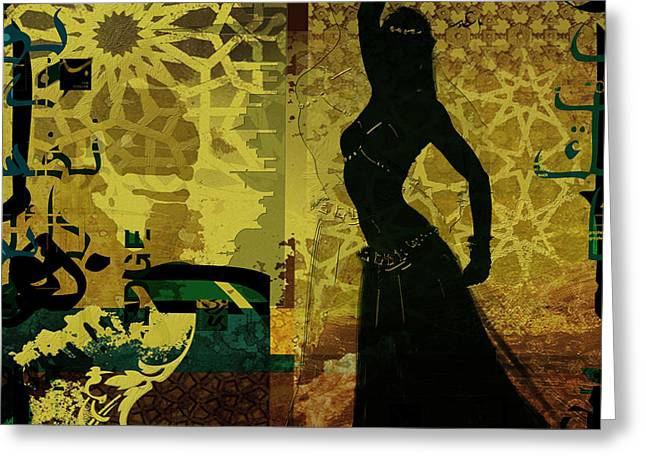 Dancer Art Greeting Cards - Abstract Belly Dancer 4 Greeting Card by Corporate Art Task Force