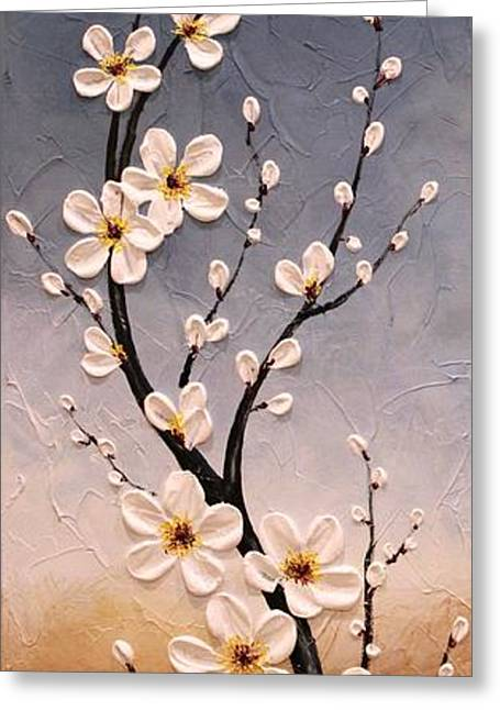 Cherry Blossoms Paintings Greeting Cards - Cherry Blossoms Greeting Card by Tomoko Koyama