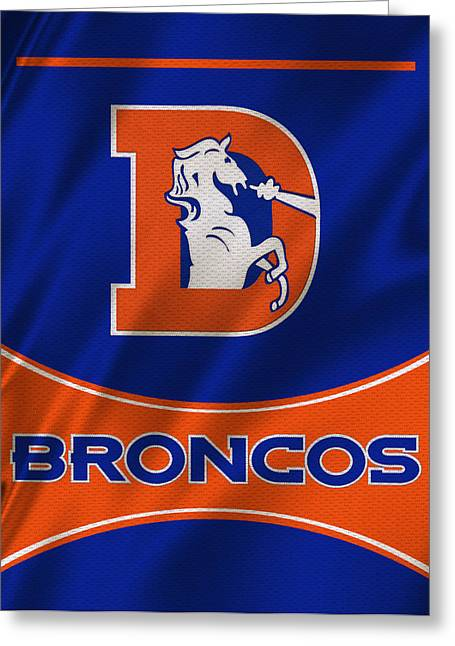 Offense Greeting Cards - Denver Broncos Uniform Greeting Card by Joe Hamilton