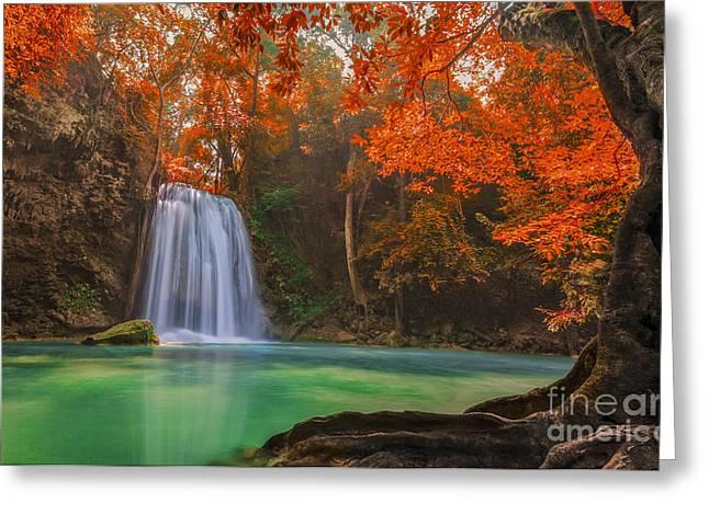 Huahin Greeting Cards - Erawan Waterfall Greeting Card by Anek Suwannaphoom