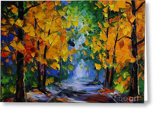 Autumn Prints Greeting Cards - Autumn Landscape Greeting Card by Willson Lau
