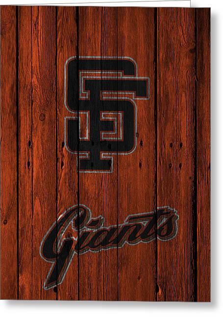 Recently Sold -  - Baseball Glove Greeting Cards - San Francisco Giants Greeting Card by Joe Hamilton