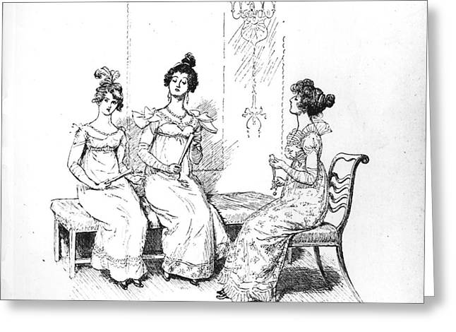 Chaise Greeting Cards - Scene from Pride and Prejudice by Jane Austen Greeting Card by Hugh Thomson