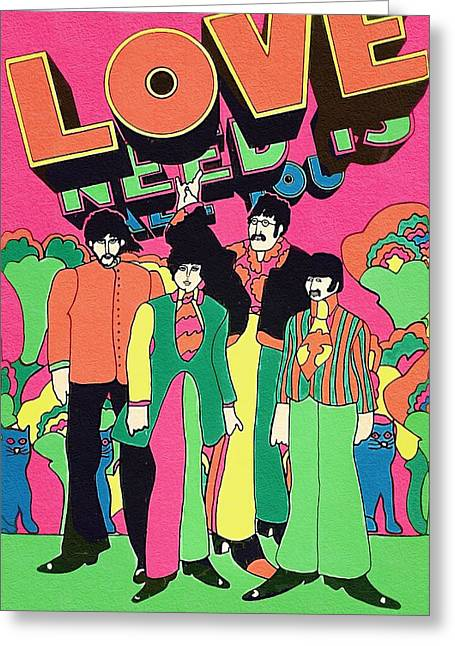 Yellow Submarine Greeting Cards - The Beatles Band Greeting Card by Victor Gladkiy