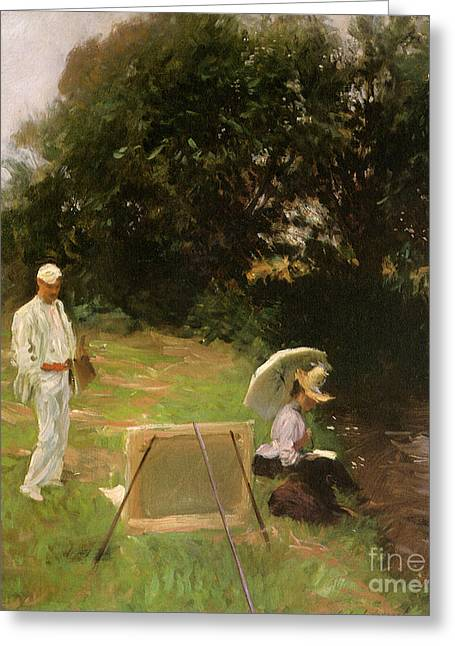 Surveying Paintings Greeting Cards - Victorian art piece Greeting Card by Indian Summer