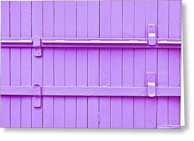Purple Abstract Greeting Cards - Wooden background Greeting Card by Tom Gowanlock