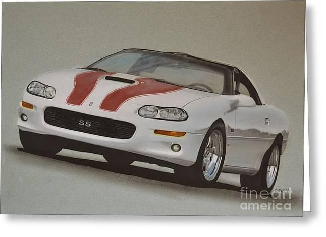 Headlight Drawings Greeting Cards - 2000 Camaro Greeting Card by Paul Kuras