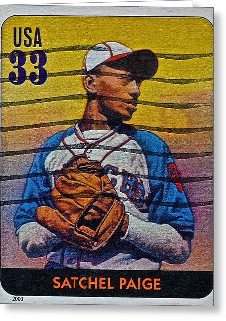 Satchel Paige Greeting Cards - 2000 Satchel Paige Stamp Greeting Card by Bill Owen