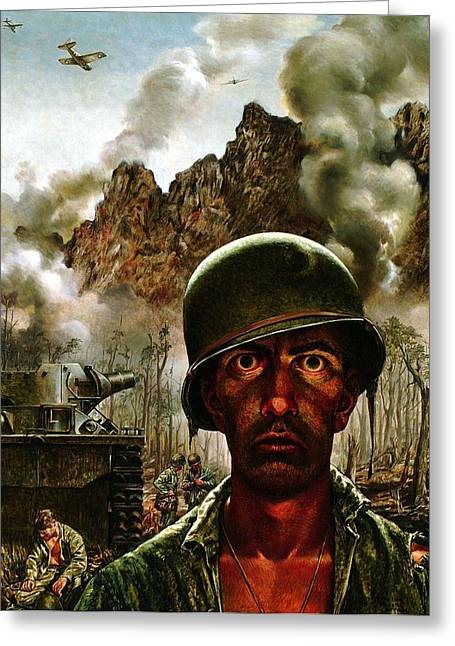 Historic Tank Greeting Cards - 2000 Yard Stare Greeting Card by Tom Lea