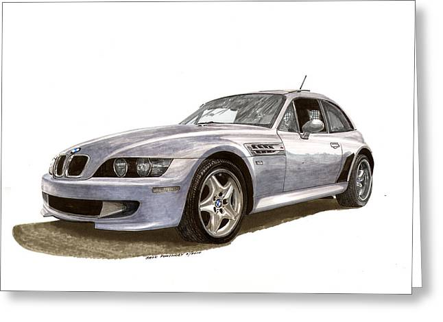 Stretching Drawings Greeting Cards -  B M W M Coupe 2001 Greeting Card by Jack Pumphrey