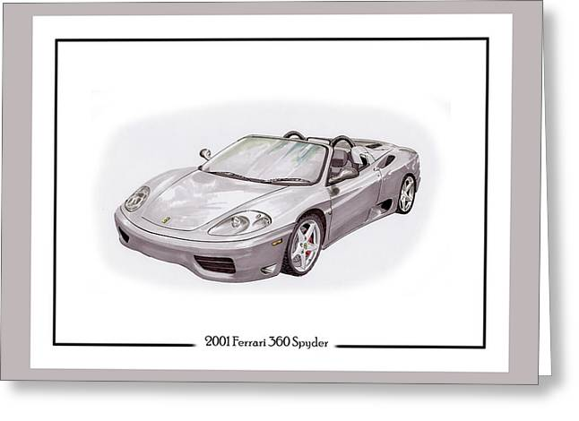 Note Cards Drawings Greeting Cards - 2001 Ferrari 360 Modena Spyder Greeting Card by Jack Pumphrey