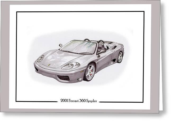 Silver Drawings Greeting Cards - 2001 Ferrari 360 Modena Spyder Greeting Card by Jack Pumphrey