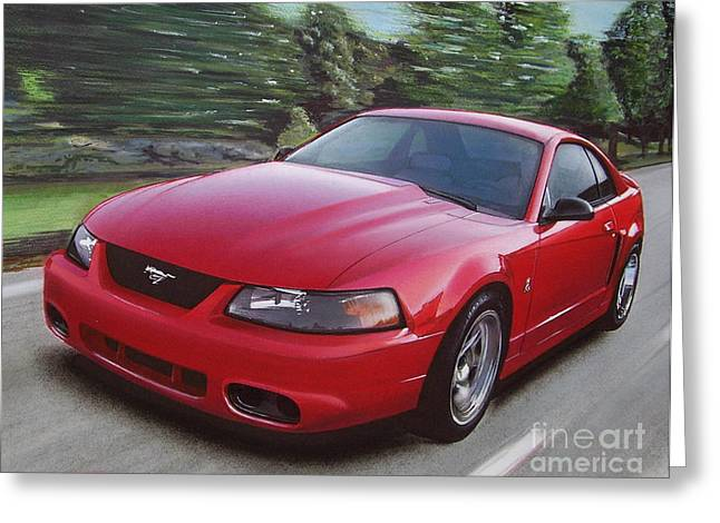 Driving Drawings Greeting Cards - 2001 Ford Mustang Cobra Greeting Card by Paul Kuras
