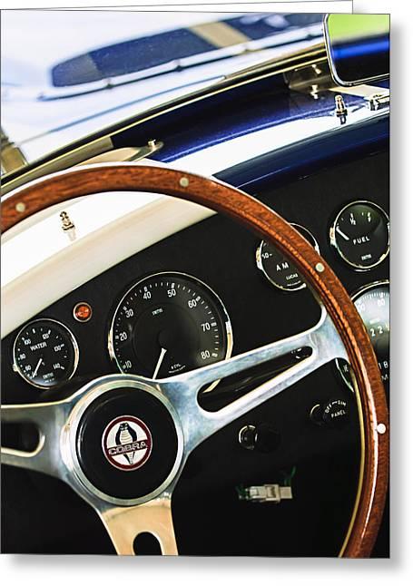 2001 Greeting Cards - 2001 Shelby Cobra Replica Steering Wheel Emblem Greeting Card by Jill Reger
