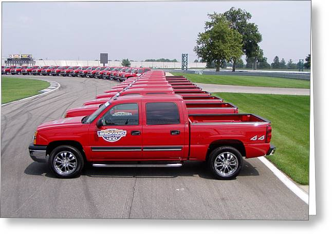 Before The Races Greeting Cards - 2004 Brickyard 400 Silverado Drive-Away Vehicles Greeting Card by Howard Kirchenbauer