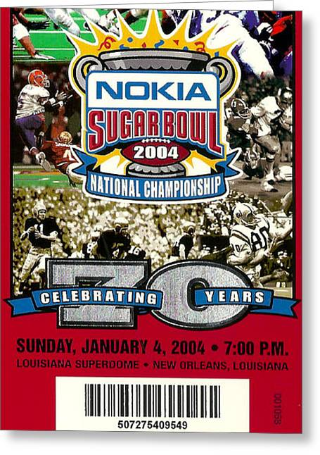 Louisiana State University Greeting Cards - 2004 National Championship Ticket - LSU vs Oklahoma Greeting Card by David Patterson