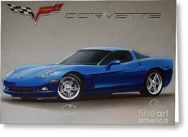 Shiny Drawings Greeting Cards - 2005 Corvette Greeting Card by Paul Kuras