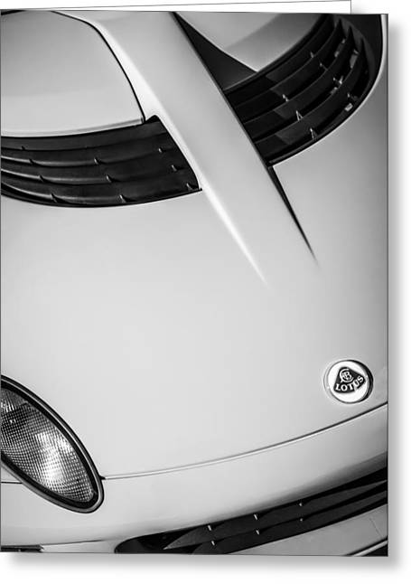2005 Greeting Cards - 2005 Lotus Elise Hood Emblem -0125bw Greeting Card by Jill Reger