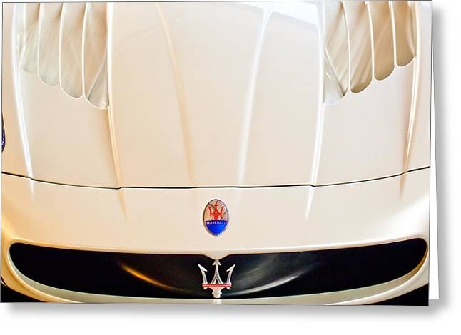 Car Photography Greeting Cards - 2005 Maserati MC12 Hood Emblem Greeting Card by Jill Reger