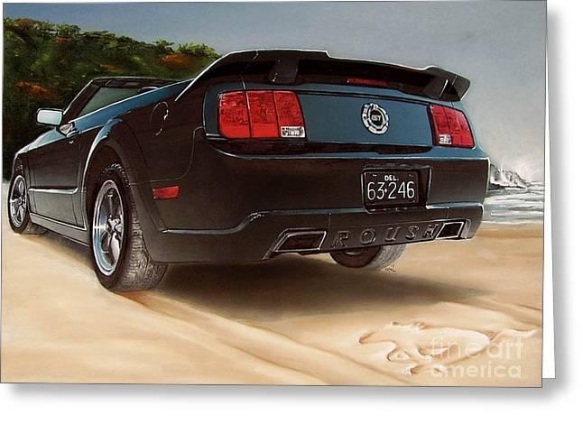 Ford Mustang Drawings Greeting Cards - 2005 Roush Mustang Greeting Card by Paul Kuras