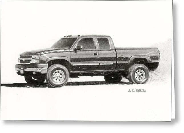 Hand Drawn Greeting Cards - 2006 Chevy Silverado 2500 HD Greeting Card by Sarah Batalka