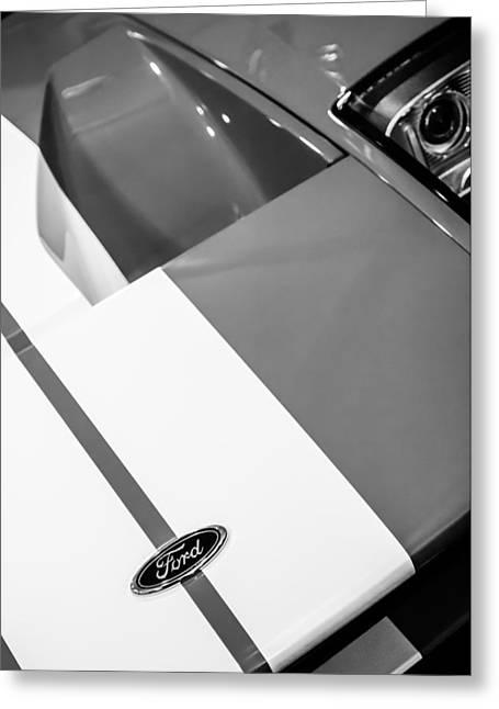 2006 Greeting Cards - 2006 Ford GT Hood Emblem -0412bw Greeting Card by Jill Reger