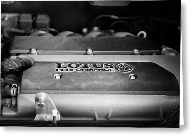 2006 Greeting Cards - 2006 Lotus Engine -0045bw Greeting Card by Jill Reger