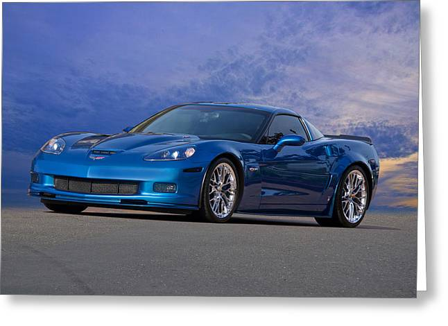 Rally Greeting Cards - 2007 Corvette Z06 427 Coupe Greeting Card by Dave Koontz