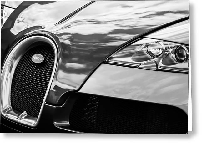 Bugatti Classic Car Greeting Cards - 2008 Bugatti Veyron Grille Emblem -0621bw Greeting Card by Jill Reger