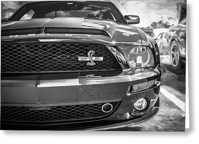 The Houses Greeting Cards - 2008 Ford Shelby Mustang GT500 KR Painted BW  Greeting Card by Rich Franco