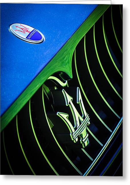 Turismo Greeting Cards - 2008 Maserati Gran Turismo Grille Emblem Greeting Card by Jill Reger