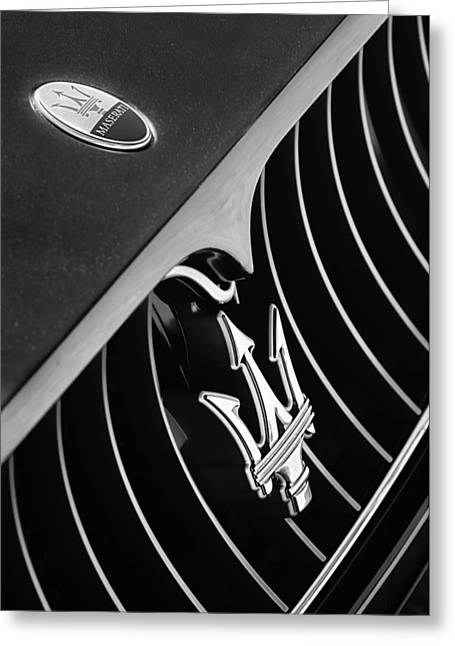 Turismo Greeting Cards - 2008 Maserati GranTurismo Grille Emblem Greeting Card by Jill Reger