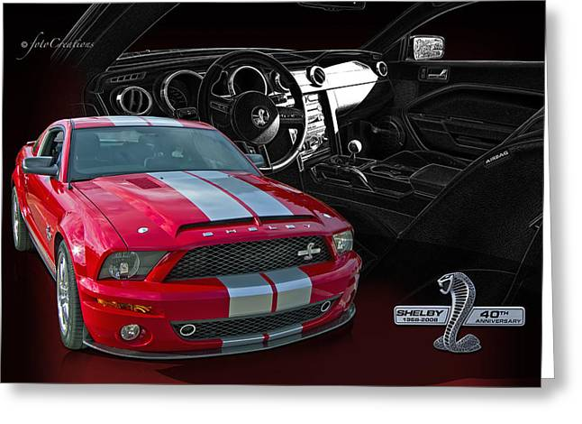 Cobra Art Greeting Cards - 2008 Shelby Cobra Mustang - 40th Anniversary Greeting Card by Roger Beltz