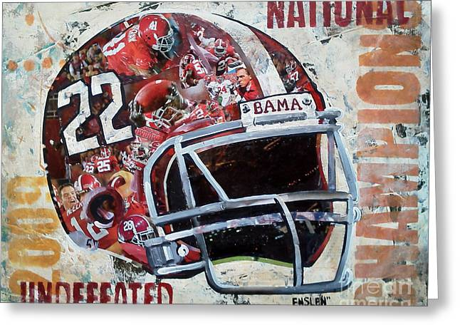 Crimson Tide Mixed Media Greeting Cards - 2009 Alabama National Champions Greeting Card by Alaina Enslen