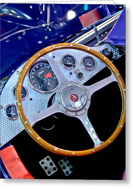 Allard Greeting Cards - 2010 Allard J2X Mk II Commemorative Edition Steering Wheel Greeting Card by Jill Reger
