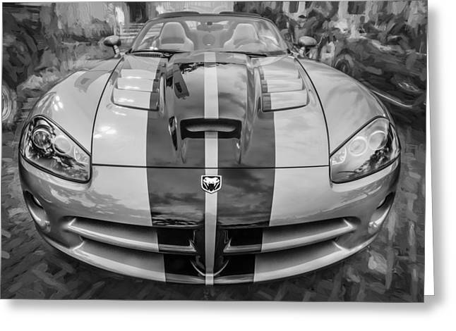 (c) 2010 Photographs Greeting Cards - 2010 Dodge Viper SRT 10 Painted BW  Greeting Card by Rich Franco
