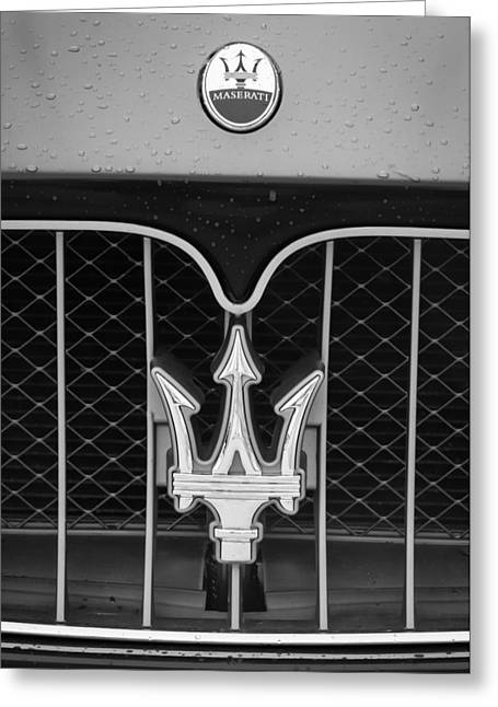 2010 Greeting Cards - 2010 Maserati Grille Emblem -0556bw Greeting Card by Jill Reger