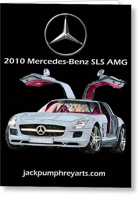Mercedes 300sl Gullwing Greeting Cards - 2010 Mercedes Benz S L S    A M G Greeting Card by Jack Pumphrey