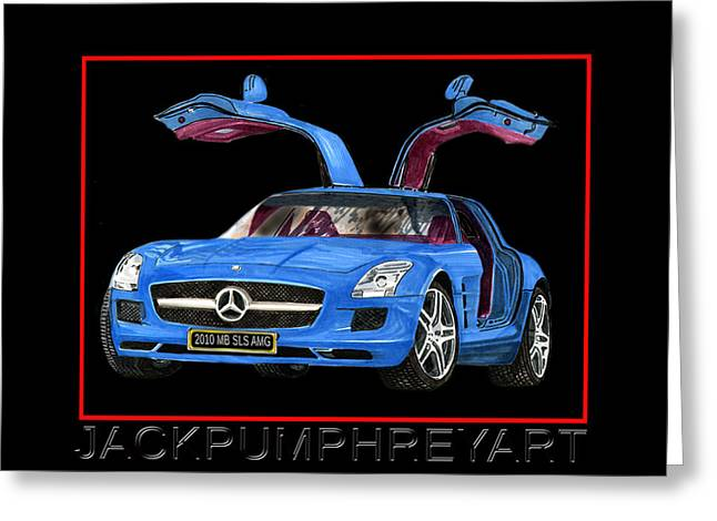 Mercedes 300sl Gullwing Greeting Cards - 2010 Mercedes Benz S L S A MG Greeting Card by Jack Pumphrey