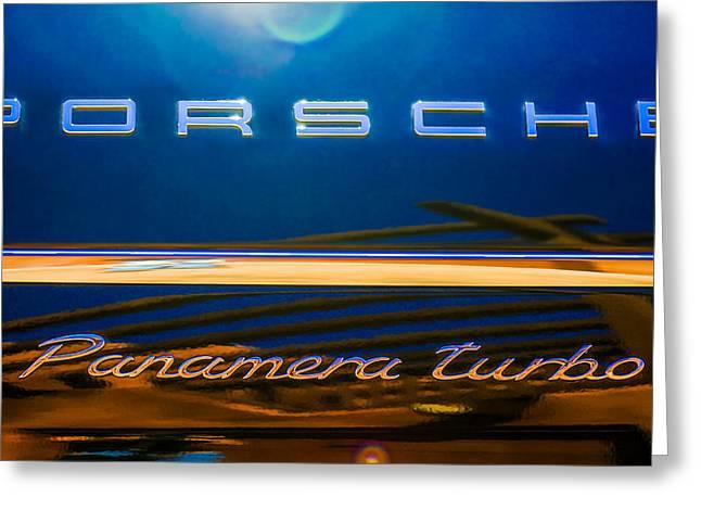 2010 Greeting Cards - 2010 Porsche Panamera Turbo Emblem -720c Greeting Card by Jill Reger